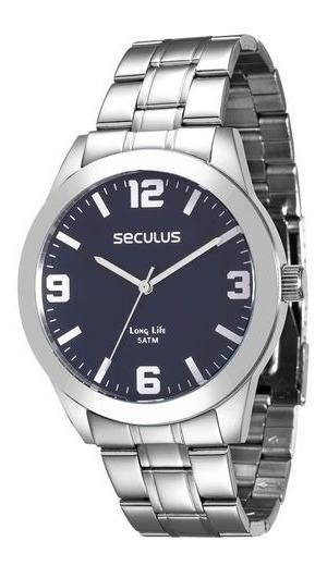 Relógio Masculino Seculus Prata 28821g0svna1 Visor Azul