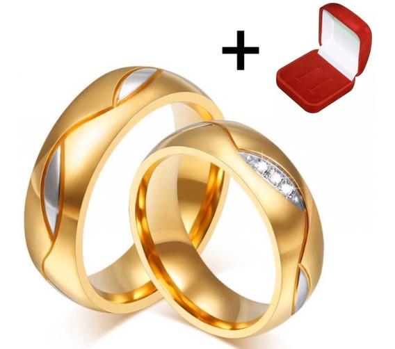 Par Alianças Moeda Antiga C/ Pedrinha Casamento Noivado