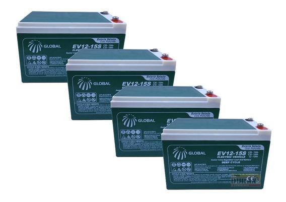Kit 4 Bateria Gel Global 12v 15ah 48v Scooter Bike Elétrica.