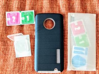 Motorola G6 Plus Funda Cristal Templado Kit