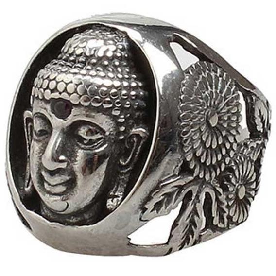 Anel Budha Pedra Rubi Aço 316l