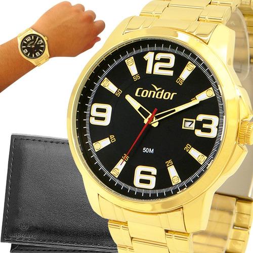Imagem 1 de 10 de Relógio Masculino Dourado Condor Ouro 18k + Carteira Brinde