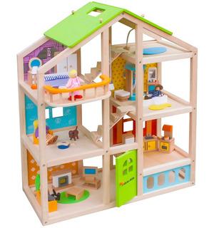 Casa Muñecas Abigail + 54 Piezas 4 Muebles Y Perro Casa Muñe