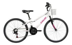 Bicicleta Bike Infantil Aro 24 Caloi Ceci Branca C/ Cestinha