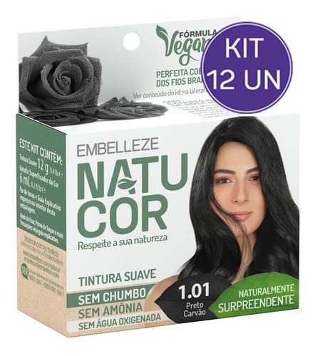 Kit Tinta De Cabelo Natucor Nat Surpreendente Preto 1.01