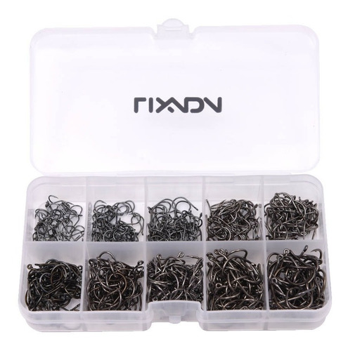 Imagem 1 de 6 de Kit Com 600 Anzóis Aço Carbono #3 Ao #12 + Caixa Pesca Anzol
