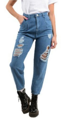 Jean Mujer Pantalon Baggy Slouchy Rigido Ancho Tiro Alto Mercado Libre