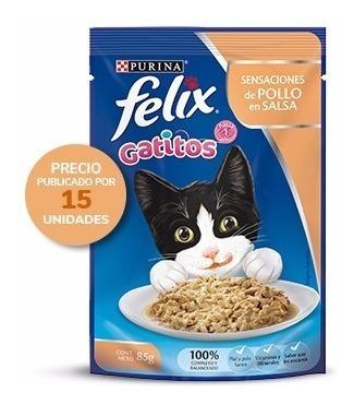 Purina® Felix® Gatitos Sensacion De Pollo En Salsa 15x85g
