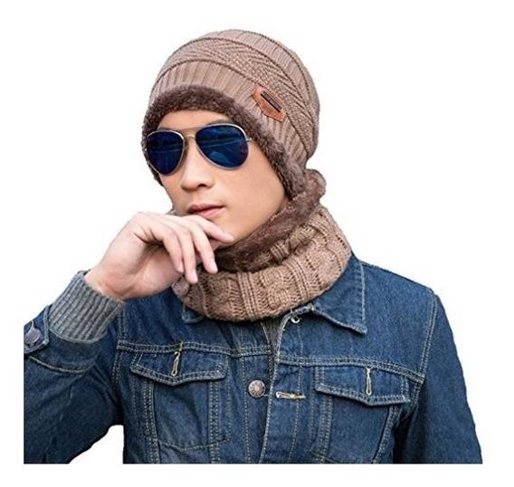 Conjunto Gorro Bufanda Frío Tejido Lana Unisex Moda