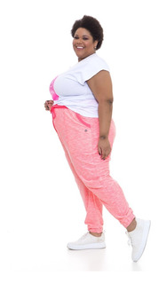 Calça Jogger Plus Size Wonder Size Moletinho Rosa Neon