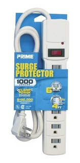 Prime Pb0021254-feet Cordón 6-outlet 1000-joule Protecto