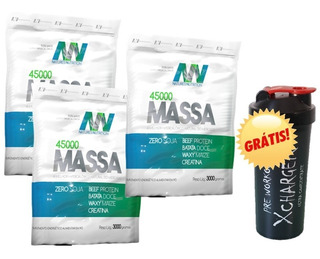 Kit 3x Hiper Massa 45000 Natures Nutrition + Shaker