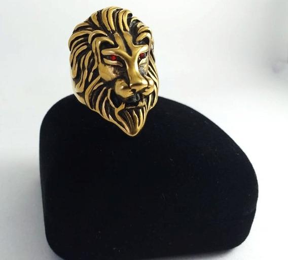 Anel Leão Aço Dourado Rock Motoquerio Lion Olhos Vermelhos