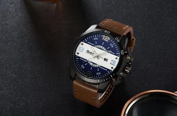 Relógio Masculino Social Couro Aço Inox Grande Frete Gratis