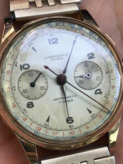 Relógio Chronographe Suisse - Landeron 48 Em Ouro 18k 750