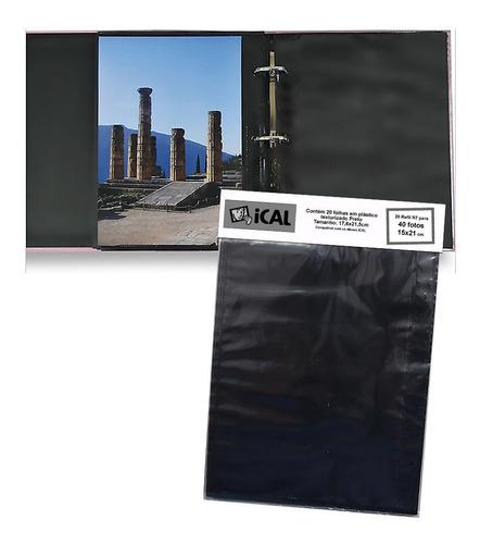 Refil Preto 40 Fotos 15x21 -20 Folhas R7 Para Álbum Fichário