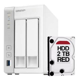 Nas Storage Qnap Ts231p 2 Bahias + Disco Rigido Hdd 2tb Red
