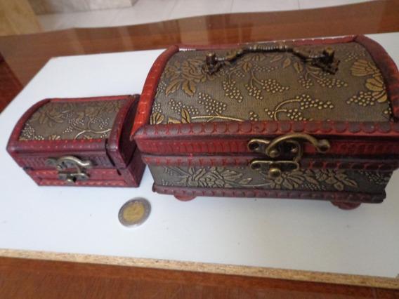 Cofre Caja Madera Baul Joyero Antiguo Regalo Navidad Set Par
