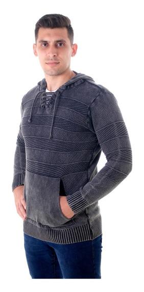 Blusão Capuz Inverno Cordão Ilhós Masculino Algodão Marmoriz
