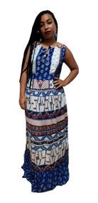 Vestido Longo Regata Estampado Indiano Crepe Plus Size 400