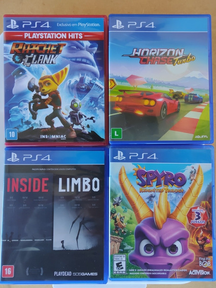 Lote Ps4 Ratche Clank, Horizon Chase, Inside Limbo E Spyro