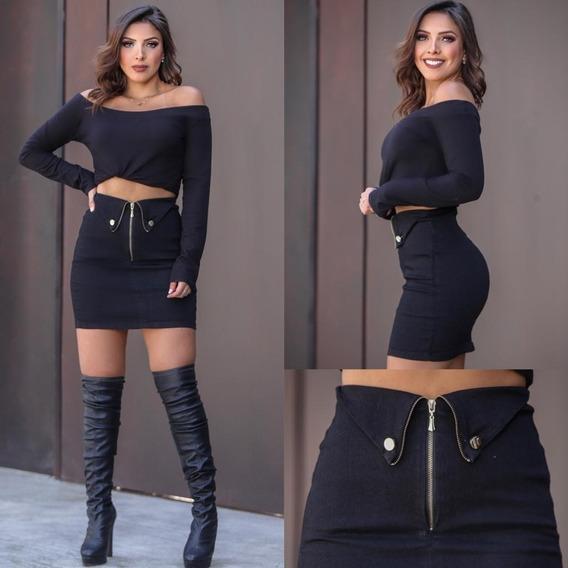 Saia Feminina Preta Sarja 2019 Moda Inverno/verão Curta