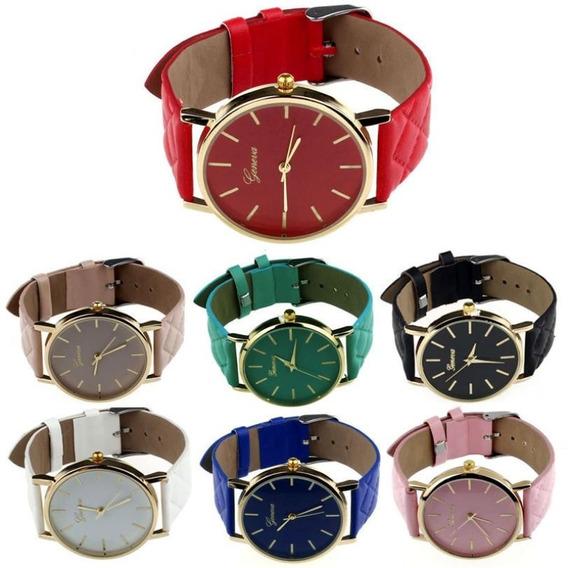 3 Relógios Feminino Geneva Preço Atacado Dourado Barato