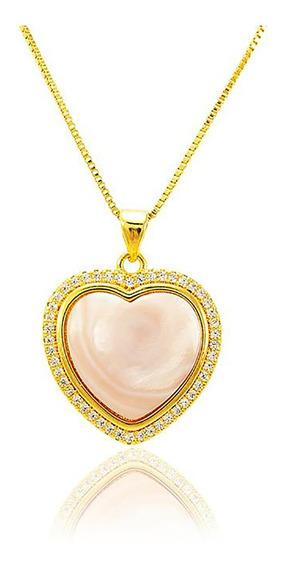 Colar Semi Jóia Ouro 18 Micro Zircônia Perola Rosada Coração