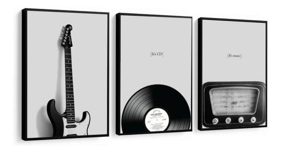Quadro Decorativo Música Instrumentos Preto E Branco 32x42