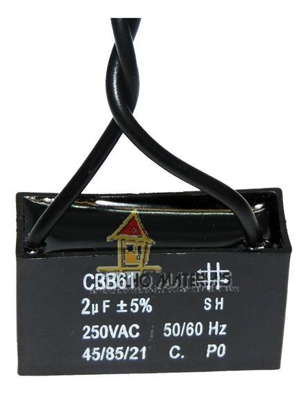 Capacitor P/ Ventilador Teto/parede E Outros - 2 Fios 2uf