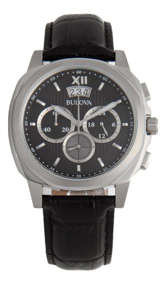 Relógio Masculino Bulova Couro Preto Wb31818w Original Nfe
