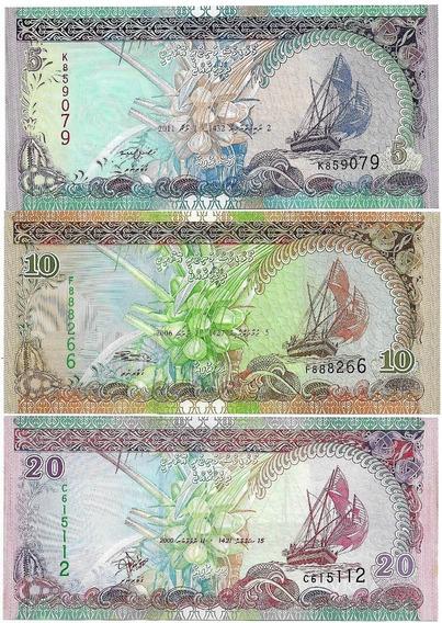 Ilhas Maldivas 5 + 10 + 20 Rufiyaa 2011/2006/2000 Fe