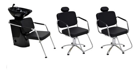 Kit Para Cabeleireiro Cadeira + Lavatório Móveis Para Salão