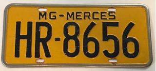 Placa Antiga Amarela Minas Gerais Merces Hr-8656