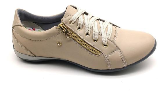 Sapato Sapatênis Feminino Casual Ziper Couro Bmbrasil 218/16