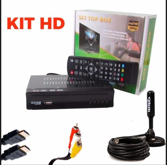 Kit Conversor Digital Tv + Antena Interna Externa Cabo 5 Mts