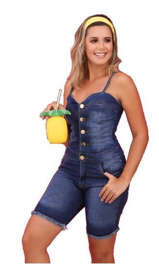 Jardineira Bermuda Jeans Feminina Lycra Botões Jad08