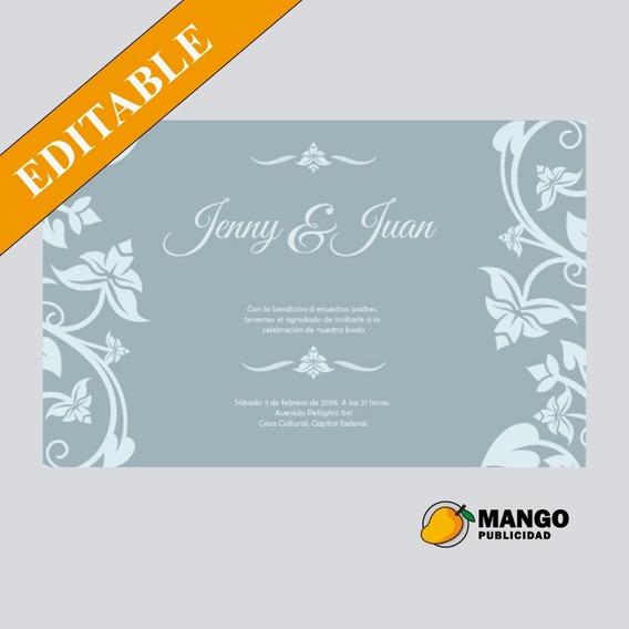 Tarjeta Invitacion Boda Diseño Para Imprimir O Digital