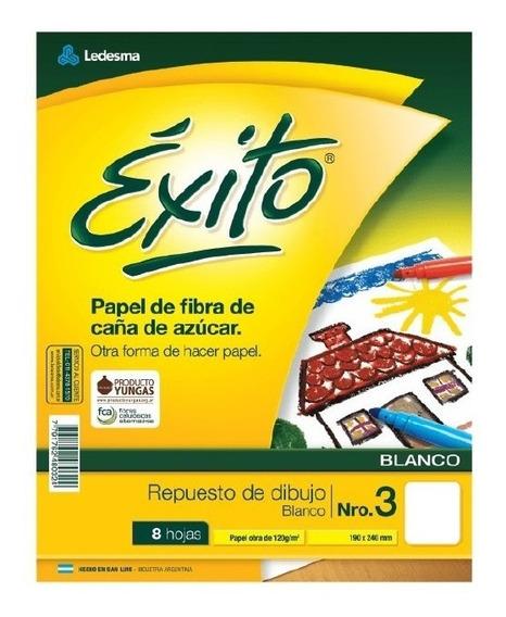 Repuesto Dibujo N3 Exito 8 Hojas Blanca Canson X10