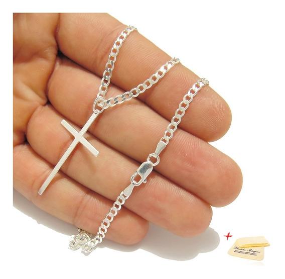 Corrente De Prata 925 Cordão 70cm Masculina Pingente Crucifixo Cruz Palito Escamada Legitima Pura Italiana Fina
