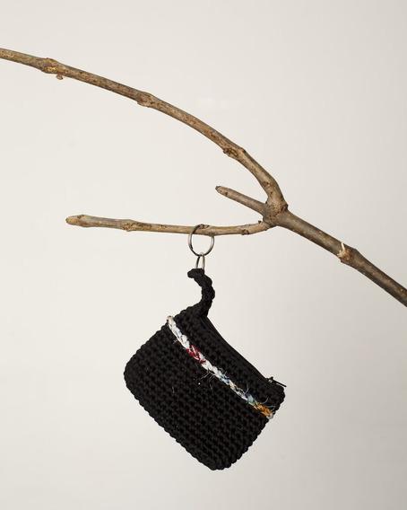 Monedero Tejido Al Crochet Laurel Negro