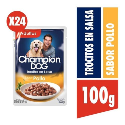 Champion Dog Trocitos En Salsa Sabor Pollo  24x100g