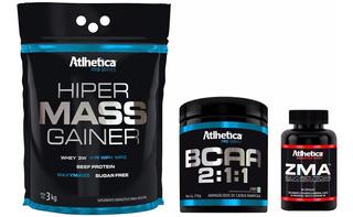 Combo Hiper Mass Gainer 3kg + Zma + Bcaa 210g Kit Atlhetica