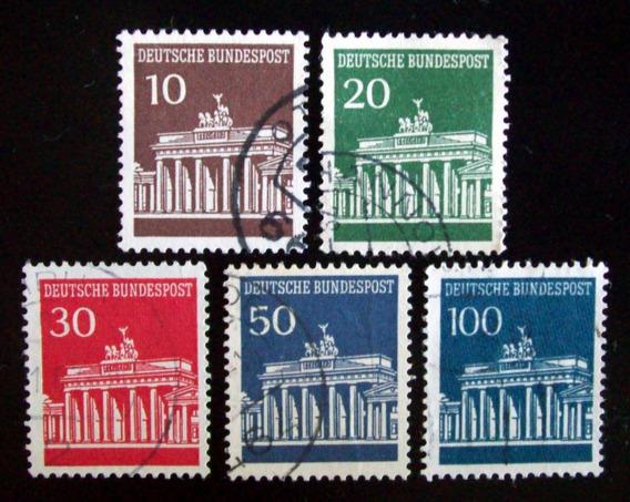 Alemania, Serie Mi. 506-10 Puerta Brandemburgo Usada L4599