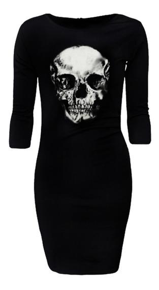 Vestido 3/4 Cráneo Calavera Metal Goth Rock Alternativo