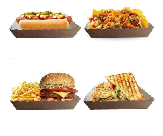 Bandeja Cartón Descartable Food Truck Grande 21x17 Cm X100u
