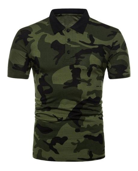 Polo Camuflaje Militar Camisas Hombre Playera Camuflajeada