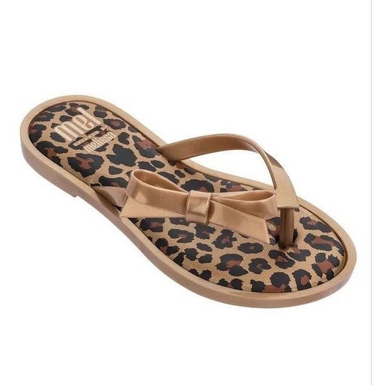Tamanco Melissa Mel Flip Flop Ouro Preto - Original 32570