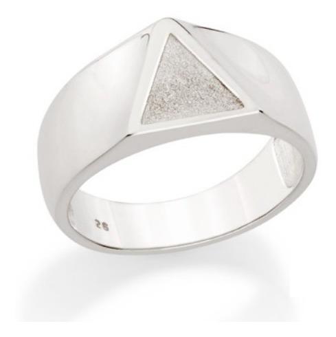 Anel Masculino Prata 925 Maciça Triângulo Rommanel 810202