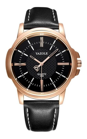 Relógio Masculino Quartz Social Luxo Pulseira Preta Oferta
